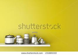 Kitchen Yellow - croissant cup coffee on kitchen counter stock photo 72436111
