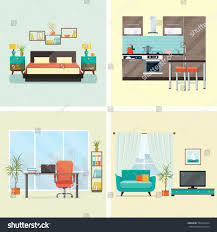 set interior design house rooms furniture stock vector 553621024