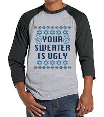 happy hanukkah sweater hanukkah sweater men s sweater grey raglan