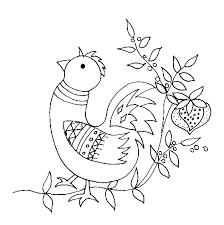 coloriage d u0027un oiseau et fleurs stylisées tête à modeler
