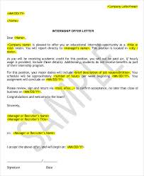 internship offer letter template 6 free word pdf format