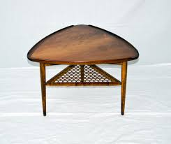 furniture brown wooden curved triangle end table with triangle