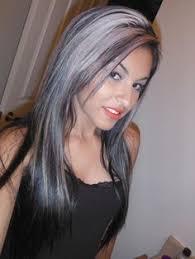 gray hair streaked bith black white clipin hair extensions fake hair streaks by ikickshins