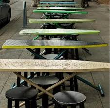 Used Restaurant Patio Furniture Re Purposed Ironing Boards Used As Bakesale Betty U0027s Dining Tables
