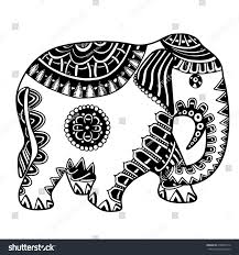 doodle indian indian elephant doodle indian stock vector 418946314