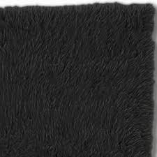 Rug Black Black Flokati Wool Shag Area Rugs