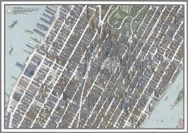 Map Of Midtown Manhattan Birds Eye View New York City Midtown Manhattan By Tadashi