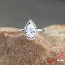 plain band engagement ring white sapphire pear halo plain band engagement ring