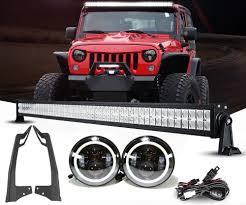 led lights for jeep wrangler jk jeep jk pack 07 2017 52 light bar 2 pods and all brackets