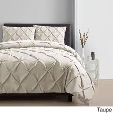 Taupe Duvet Vcny Carmen 3 Piece Pintuck Duvet Cover Set Free Shipping Today
