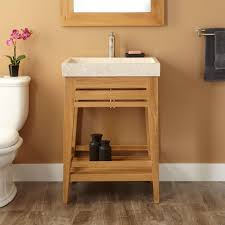 bathroom small trough sink with wood legs and brown wall plus