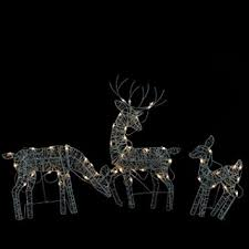 set of 3 white glittered doe fawn and reindeer