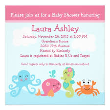 the sea baby shower invitations baby shower invitation the sea the sea girl baby