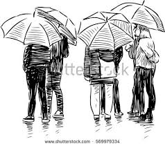city dwellers rain stock vector 573502711 shutterstock