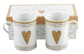golden wedding anniversary gifts pair of gift boxed golden anniversary mugs 50th wedding