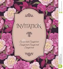 vintage invitation card with hand drawn pink and white peonies