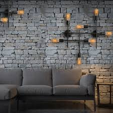 Stone Wall Sconce Light Unique Black Wrought Iron Industrial Wall Sconces