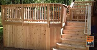 cedar deck with skirt cedar rustic fence co