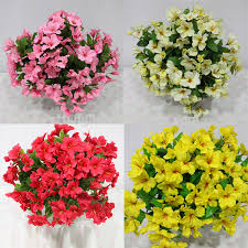 Flowers For Home Decor Factory Silk Yellow Artificial Impatiens Bush Marking Artificial