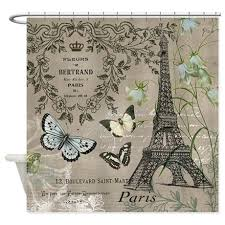 Vintage Style Shower Curtain Vintage Paris Eiffel Tower Postcard Shower Curtain Vintage Paris
