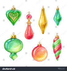 tree ornaments assorted glass balls stock illustration