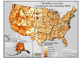 america map in maps of disability and employment disability in america map