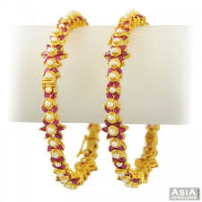 gold pearl bangle bracelet images 22k gold ruby pearl bangles pair ajba55546 22k gold designer jpg