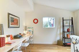 ladder bookshelf in kids transitional with mdf next to long desk
