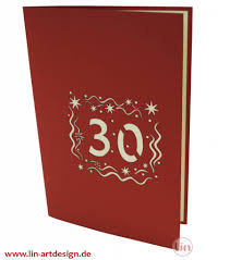 pop up birthday card 30th birthday lin pop up 3d greeting cards