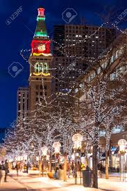 downtown denver 16th street mall decorated for christmas stock
