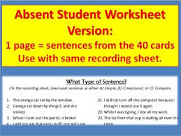 structure task cards simple compound complex sentence types