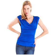 royal blue blouse top clothes effect royal blue layered front ruched