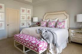 Bedroom Pink And Blue Tan Nailhead Headboard With Pink And Blue Pillows Transitional