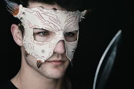 handmade genuine leather mask for masquerade cosplay or halloween