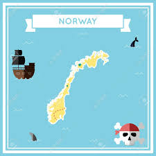 Map Of Norway Flat Treasure Map Of Norway Colorful Cartoon With Icons Of Ship