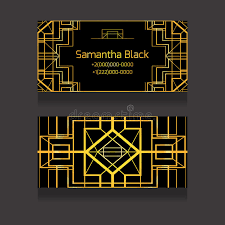template two sided business card with golden luxury pattern stock