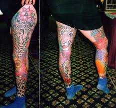 colorful tiger on leg tattoomagz