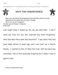 spot the homophones 2nd 3rd grade worksheet lesson planet
