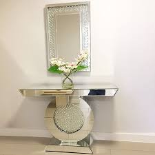 Mirrored Console Table Rhombus Crystal Mirrored Console Table Pha Rhombus Mfr5117