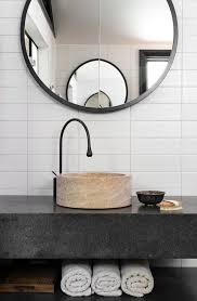 sydney black honed granite powder room contemporary with round