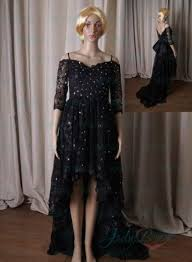 lj212 black lace off shoulder high low hem prom dress 2296264