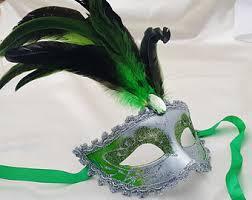 green mardi gras mask green masquerade etsy