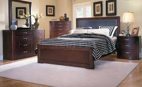 warm espresso finish contemporary leather headboard bed