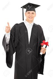 college graduation gown proud college graduate in a graduation gown holding a