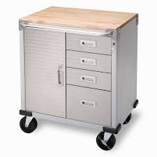 Wood Garage Storage Cabinets Metal Rolling Garage Storage Cabinet With Drawers And Wooden Top