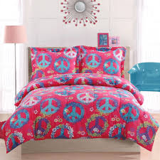 cosmo peace sign pink comforter set teen girls peace sign