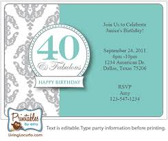 40th birthday party invitations templates free stephenanuno com