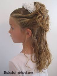 cute hairstyles for first communion pile of curls a headband babes in hairland