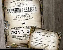 steunk wedding invitations diy faux leather steunk gears and parchment paper