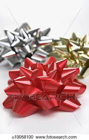 big christmas bows stock photography of still of big shiny gold and silver